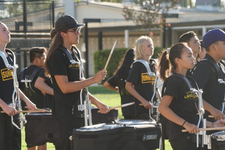 Like last year's drum line presentation in the quad during Back-to-School Night, this section of the Lancer Regiment will perform again Aug. 27 in the quad before parents visit their children's teachers. (Accolade File Photo)
