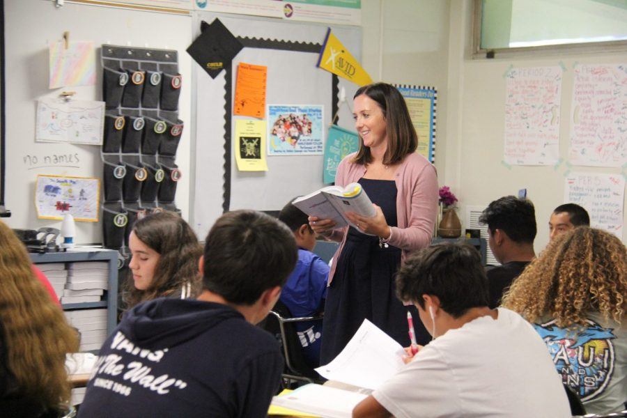 English teacher Kady Fibrow reads the novel Life of Pi with her students on Aug. 27. (Photo by Accolade photo editor Megan Shin)