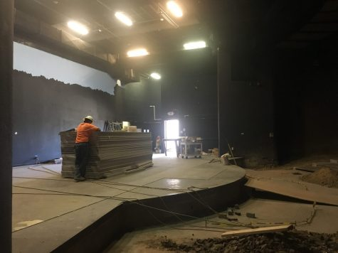 A worker continues construction on the first day of school inside the closed Performing Arts Center. He was working on a part of the stage during a tour that principal Allen Whitten gave to two Accolade staff members. Photo by Accolade news editor Tyler Pak.