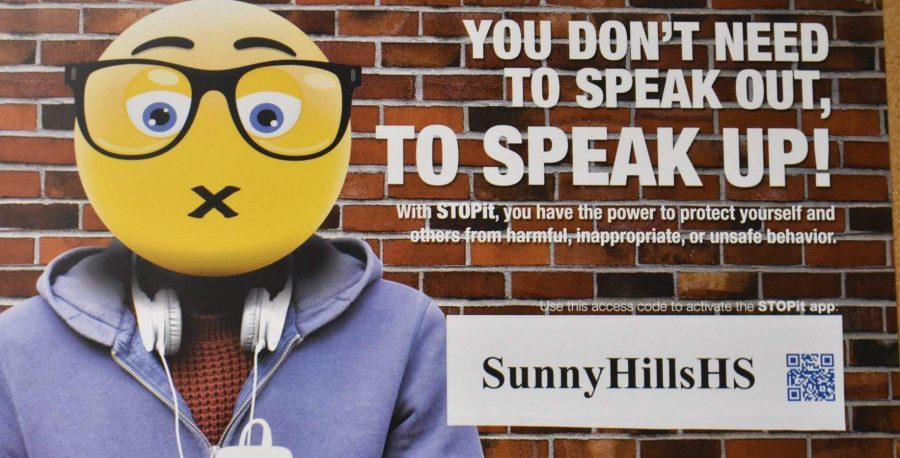 Various posters from the STOPit campaign are placed in classrooms all over the Sunny Hills campus to encourage students to report bullying. Photo taken by Paul Yasutake.