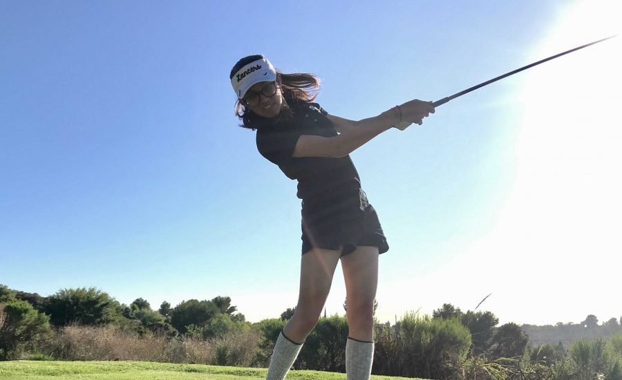 Senior Kavi Maru swings her golf club during practice at Westridge Golf Club Aug. 21. Photo taken by Accolade reporter Gianne Veluz.