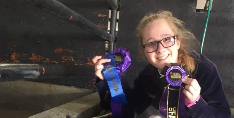 Sophomore Samantha Stanfill holds the ribbons she won after her pig Astro notched the top prize of Grand Champion Market Hog at the Orange County Fair over the summer.  Image posted with permission from Samantha Mejia.