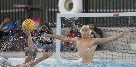Sunny Hills goalie junior Josh Beutter rises out of the water to block a shot by a Buena Park attacker during an Oct. 2 home game in which the Lancers won,  10-4. Photo by Accolade photographer Paul Yasutake