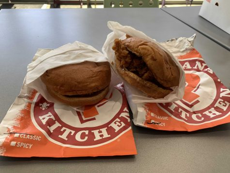 Popeyes' classic chicken (left) and spicy chicken sandwiches are no longer available at the restaurant, according to Popeyes' online Twitter post in August. Interest in the sandwiches went viral over the summer after a rapid increase in popularity. Photo taken by Accolade sports editor Andrew Ngo.