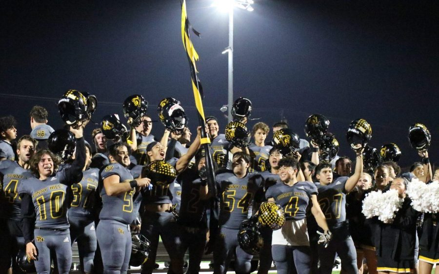 The Sunny Hills football team celebrates together following its 21-14 comeback win against Tustin High School in the first round of the CIF-Southern Section Division 8 playoffs Nov. 8 at Buena Park High School stadium. Photo taken by Accolade photographer Paul Yasutake