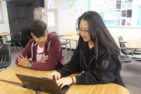 DECA vice president sophomore Rachel Lee shows freshman Saahil Kakaria (left) the Sunny Hills DECA website during a Nov. 14 club meeting. Photo taken by Accolade photographer Brianna Zafra.