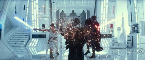 The final installment of the Star Wars saga, which was released Dec. 20, includes some spectacular lightsaber duels like this one in which Rey (left) played by Daisy Ridley fends off the evil Kylo Ren (Adam Driver), who tries to persuade Rey into joining the Dark Side of the force. Their fight eventually destroys the remains of the Darth Vader helmet. Image posted with permission from Walt Disney Studios.
