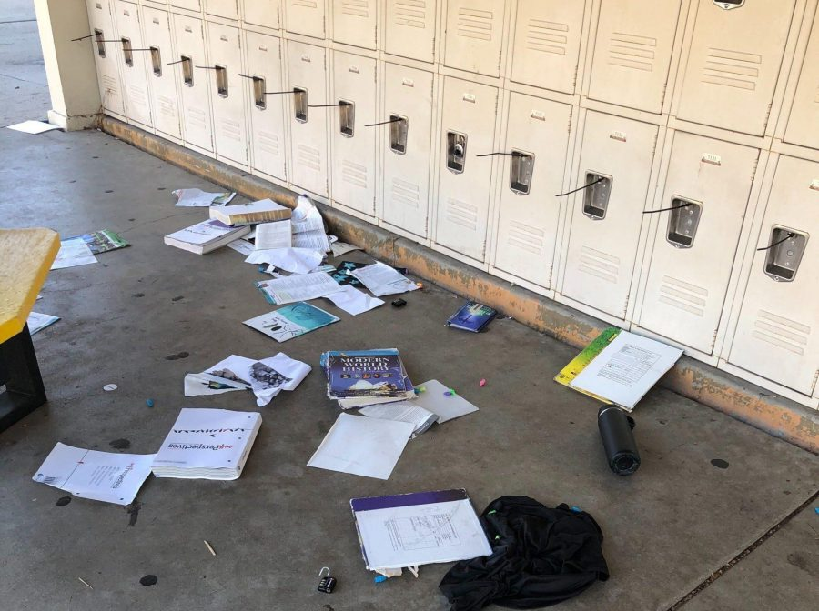Students' belongings lay scattered on the floor near the set of lockers attached to the 30s building in the aftermath of a Nov. 16 early morning vandalism at Sunny Hills. Image posted with permission from Jennifer Kim.