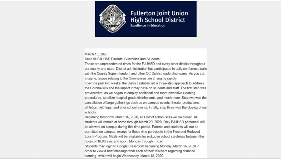 This Aeries communication email was sent to parents and students at 7:40 p.m. March 15, followed by another one sent at 8:50 p.m. containing a much shorter message and informing readers to go to the Fullerton Joint Union High School District website to access the superintendent's letter in a PDF file. Students remain uncertain, though, as to how their teachers will take Aeries attendance when distance learning begins Wednesday, March 18.
