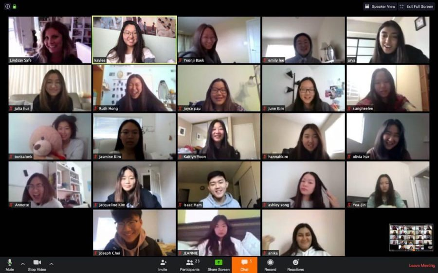 The Helios staff meets with adviser Lindsay Safe (top left corner) March 19 via the Zoom online app to discuss what they need to do to finish the 2019-2020 yearbook since school will remain closed until May 4. Zoom is among some of the distance learning tools that Sunny Hills teachers are using to conduct classes online. Image used with permission from Anika Madan.