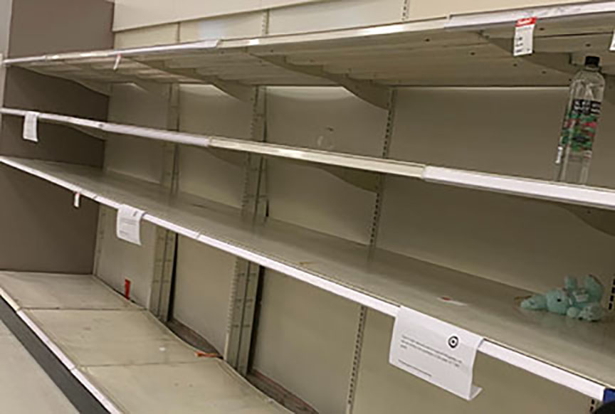 While on an errand to buy cat food and a lock at Fullerton's Amerige Heights Town Center Target, Accolade co-sports editor Annie Bang and her mother noticed on March 15 several empty shelves that used to contain water bottles, canned goods and other snacks. Photo taken by Accolade co-sports editor Annie Bang.