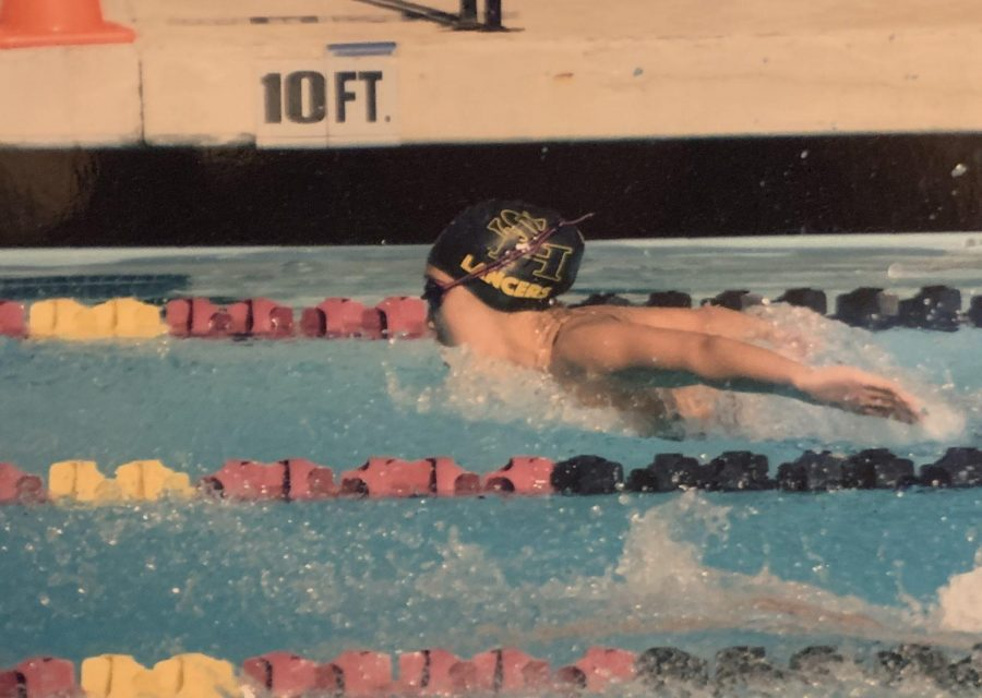 Former Lancer swimmer Lawrence Mao's mother took this picture of Accolade photo editor and swimmer senior Megan Shin as she swam the 100 fly during the Mt. Sac Meet of Champions on April  13, 2019. Shin laments the loss of a senior night meet to recognize the 12th-grade athletes in spring sports because of school closure until May 1 to stem the threat of COVID-19.