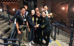 Co-captains senior Cecilia Lee (center), senior Megan Luo (bottom right) and senior Samuel Kho (top right) join some of their Science Olympiad teammates in celebration of their fourth-place finish at the Feb. 15 regional competition held at the University of California, Irvine. Image posted with permission from William Kho.