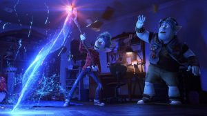 Tom Holland of Marvel's Spider-man voices Ian Lightfoot (left), who chants a visitation spell and uses a Phoenix Gem and a wizard's staff to bring back his father while his older brother Barley watches. This incites the brothers' fantastical quest to find another magical gem to complete their task to resurrect their dead father. Image used with permission from Disney Studios.