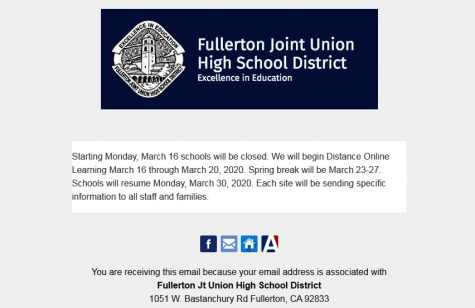The Fullerton Joint Union High School District announced its notice of closure from March 16-20 for all of its campuses -- including Sunny Hills -- in an Aeries communication email on Friday, March 13, at 1:37 p.m., 11 minutes after fifth period ended. The school was on a special ASB elections bell schedule that featured a 14-minute extended Period 2 for teachers to show two videos to students.