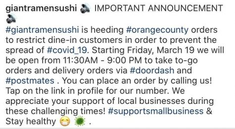 On its Instagram page @giantramensushi, the restaurant announced March 19 that it will only take to-go and delivery orders and will close the building to prevent dine-in customers from coming inside in response to the COVID-19 outbreak. Such a response will also impact part-time student workers there since many of them depend on tips from customers as part of their income.