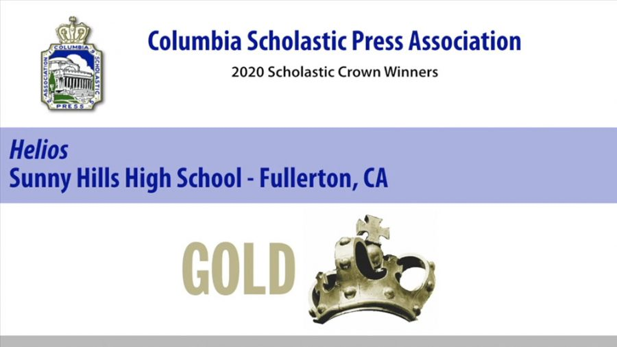 A screenshot of the online video awards presentation by the Columbia Scholastic Press Association recognizes the 2018-2019 Sunny Hills yearbook with its highest honor, a Gold Crown.