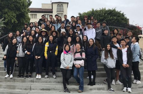 The last time world language teacher Soon-Ya Gordon and her Chinese classes visited Chinatown was on March 17, 2018. Here they are in front of El Pueblo de Los Angeles Historical Monument, where they learned that to make room for Union Station in the 1930s, the current Chinatown was built, and the Chinese people in the El Pueblo area were moved. This year's March 13 Chinatown field trip was canceled because of the growing coronavirus threat. Image posted with permission from Soon-Ya Gordon.