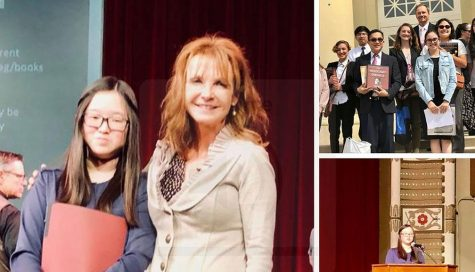 English teacher Christina Zubko stands on the stage in one of Chapman University's auditoriums with her student in 2018, the last time Zubko had a finalist who eventually became a first-place winner at the Holocaust writing contest. Images taken from a March 2018 Sunny Hills High School Facebook post taken by Allen Whitten.