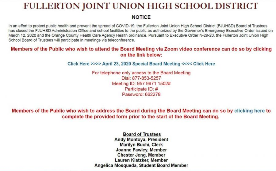 A screenshot of the online notice that can be accessed from the Fullerton Joint Union High School District's website.
