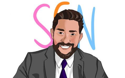 "An artist's rendering of actor John Krasinski in his new YouTube series, ""Some Good News."" Art by graphics editor Erin Lee."