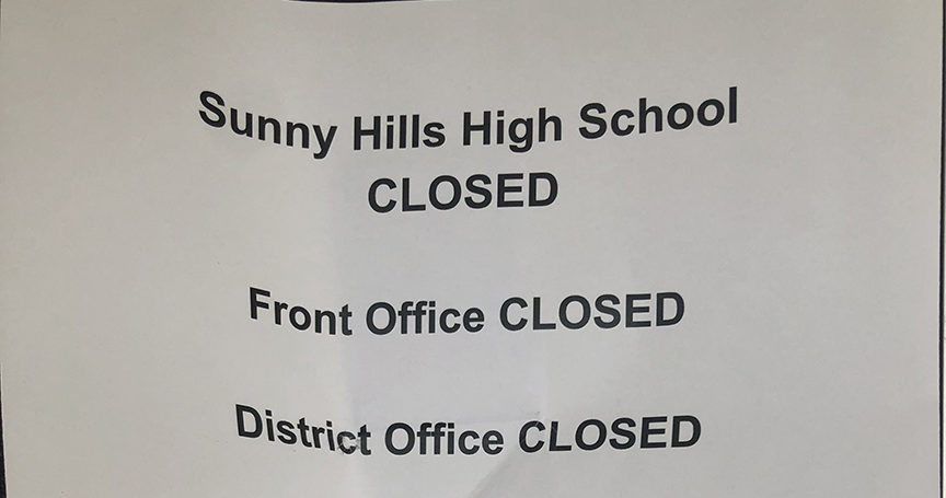 Printed signs like this are taped outside Sunny Hills High School's main office doors between Rooms 3 and 7 as a reminder to the community that the campus will remain closed through the summer unless California Gov. Gavin Newsom lifts his stay-at-home orders in response to the coronavirus pandemic. Photo taken by Accolade adviser Tommy Li