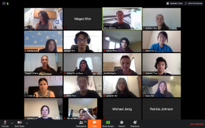 Through an April 24 Zoom meeting that included the five campus counselors, principal Allen Whitten (third from left, top row) announces his plans for the May 28 virtual graduation ceremony and how the 12 Class of 2020 valedictorians will be honored. In the past, Whitten usually summoned seniors to his office to confirm their top of the class status, but because of COVID-19-related stay-at-home orders, he opted to make the announcement online. Photo by Accolade photo editor Megan Shin.