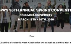 A screenshot of the March 6 announcement from the Columbia Scholastic Press Association about its decision to cancel its national journalism convention and March 20 awards ceremony at Columbia University in New York. The Accolade and Helios student publications had been named Crown winners last October -- the only Orange County journalism programs to have earned such a distinction -- for work produced in the 2018-2019 school year.