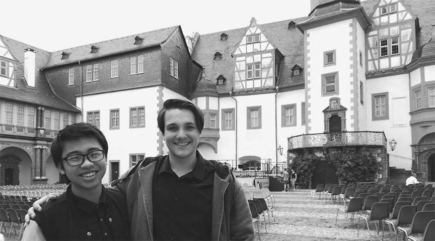 Then junior Jason Liang (left) stands with his host, Sidney Zumkier, at the Bohemian Rhapsody concert when he traveled to Germany for The Friendship Connection's student exchange program in the summer of 2018. This summer's event got nixed in early March because of the worldwide spread of COVID-19. Accolade File Photo