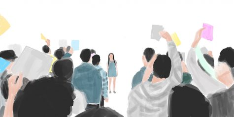"An artist's rendering of a key scene from Wong Fu Productions' short video parody titled, ""To All the Kevins."" Art illustrated by assistant graphics editor Karen Lee"