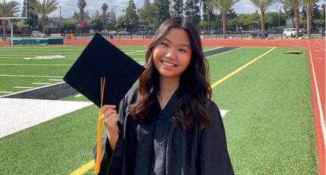 Senior Sunghee Lee celebrates her high school graduation as one of the 12 valedictorians at the Buena Park High School stadium on May 14. Image posted with permission from Sunghee Lee.