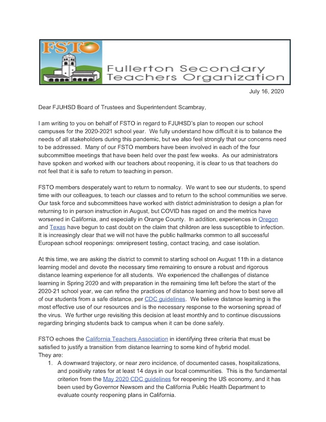 Letter to Trustees and Superintendent