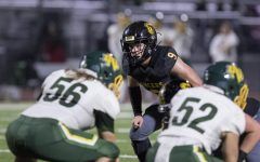 Wearing his No. 9 Lancer football jersey, linebacker and then-junior Carson Irons gets ready for the next offensive series during a Nov. 15, 2019, game against Notre Dame of Riverside in a California Interscholastic Federation-Southern Section Division 8 quarterfinals matchup. After racking up 186 tackles, two sacks and an interception last season, Irons has committed to play Division 1 football for Princeton University in New Jersey.