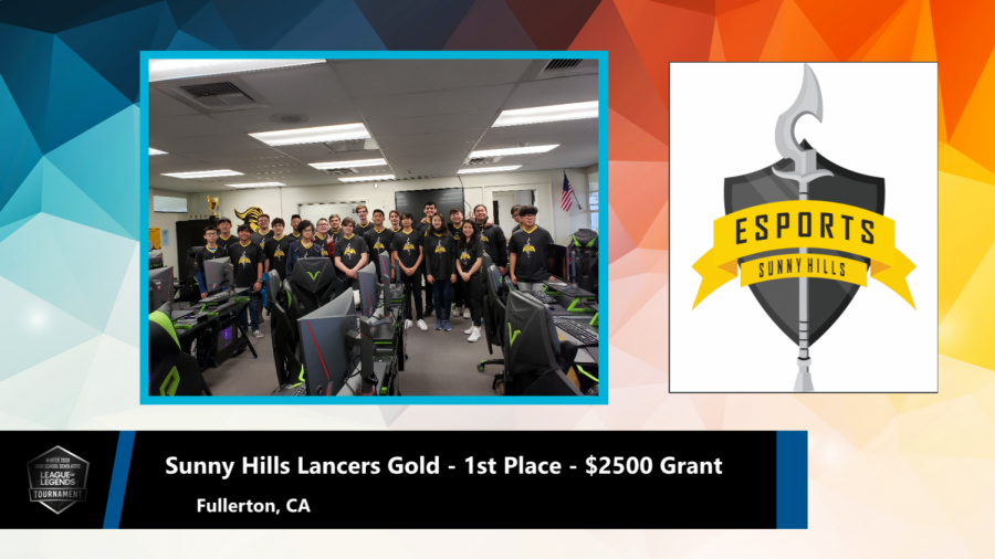 Though the Sunny Hills League of Legends Gold team was unable to accept its championship trophy and $2,500 check for the school because of the coronavirus pandemic, the North America Scholastic eSports Federation put together this image to promote the team's success on its website.
