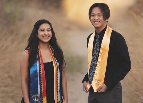Class of 2020's Johnathyn Yip and Elena Singh, wear their Sunny Hills cap and gowns at a senior graduation photoshoot at the Brea Dam on June 28. The Class of 2020 not only lost its senior traditions like prom, Grad Nite and paper toss, but last school year's seniors also never had a chance to walk down the aisle to pick up their diplomas during a commencement ceremony usually held at Fullerton Union High School's football stadium. An Aug. 5 makeup graduation at Buena Park High School's football stadium was canceled July 28 because of the continued increase in COVID-19 cases in Orange County.