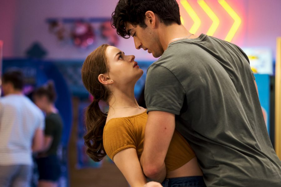 Elle (Joey King) Evans returns in the sequel to 'The Kissing Booth' as she and Marco (Taylor Zakhar Perez) lock eyes after their excellent display of chemistry while rehearsing on the Dance Dance Revolution machine.