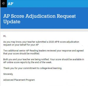 A sample College Board response email regarding a potential change in scores for Advanced Placement tests.
