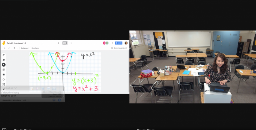 Using the Google Meet platform during distance learning, new math teacher Dorothy Cheng reviews on Aug. 19 from her classroom parabolic equations (left) with her third period Algebra 2 class.