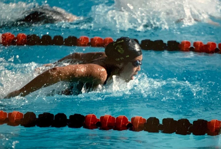 Then-sophomore+Katie+Cho+swims+toward+the+finish+line+in+the+2019+Division+3+California+Interscholastic+Federation+%5BCIF%5D+finals+for+the+women%E2%80%99s+100-yard+Butterfly+held+at+Riverside+City+college+in+Riverside.+Cho+set+three+Sunny+Hills+records+for+the+varsity+swim+team.