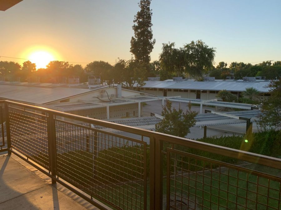 The sun sets on the Sunny Hills campus on May 28, the last day of school in the 2019-2020 school year. Because of Fullerton Joint Union High School District's Sep. 3 announcement, students whose parents signed them up for Cohors A or B will not arrive back on campus until Oct. 5 at the earliest.