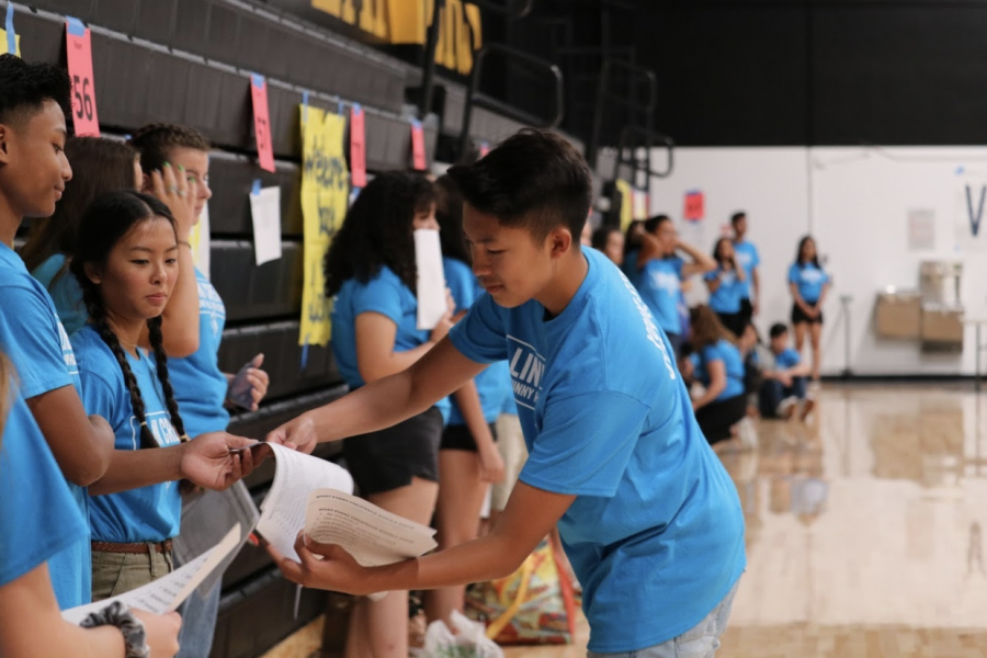 Then-junior Daniel Magpayo (center) gives instructions to Krystopher Bagunu (left) and Leoni Nguyen, then juniors, in the gym during the Aug. 6, 2019, Link Crew freshman orientation. For the 2020-2021 school year freshman orientation, Link Crew had to resort to meeting with freshmen through the Zoom meeting platform because of COVID-19 health and safety guidelines.