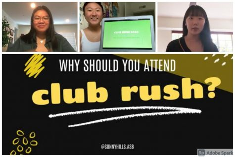 ASB co-activities commissioners senior Kathryn Aurelio (left) and juniors Jasmine Lee and Ellen Kim promote a virtual version of Club Rush in the ASB's Aug. 24 Back to School video. The three worked on producing a Google Slides presentation promoting the student groups instead of the traditional event during break. The presentation