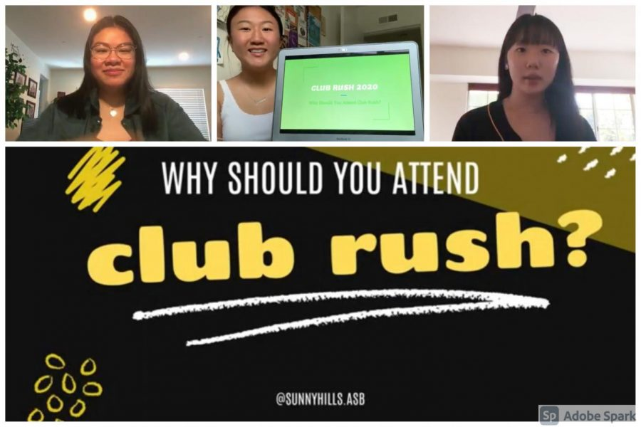 ASB co-activities commissioners senior Kathryn Aurelio (left) and juniors Jasmine Lee and Ellen Kim promote a virtual version of Club Rush in the ASB's Aug. 24 Back to School video. The three worked on producing a Google Slides presentation promoting the student groups instead of the traditional event during break. The presentation's link was posted on the Sunny Hills website Friday, Sept. 4, and will remain there until Sept. 11.