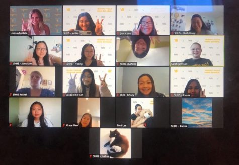 Helios editor-in-chief senior Anika Madan (first row, second video window from left) captures a historic moment -- the first virtual yearbook camp sponsored by Herff Jones on July 25, the camp