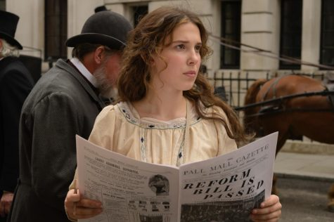 After venturing off to London, Enola Holmes (Millie Bobby Brown) opens up a newspaper in search of clues that her missing mother might have left her.
