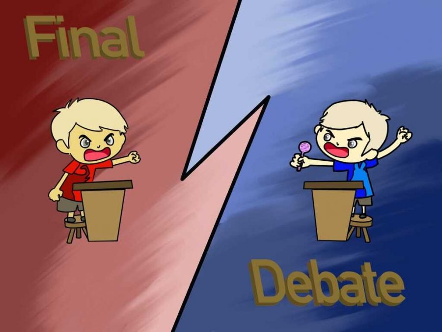 An artist's interpretation of what the final debate could look like.