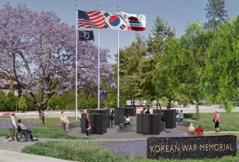 An artist's rendering of what the Korean War Memorial would look like once enough funds have been raised to have it built at Hillcrest Park next to the duck pond in Fullerton, near Fullerton Union High School.