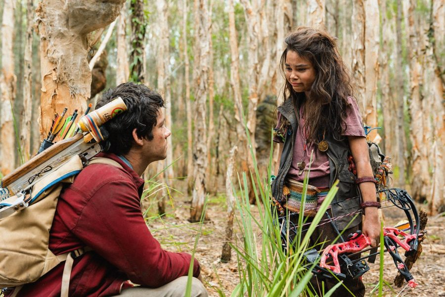 "Joel (Dylan O'Brien, ""The Education of Frederick Fitzell"") confronts Minnow (Ariana Greenblatt, ""The One and Only Ivan"") about his decision to leave her and Clyde (Michael Rooker, ""The Dark Tower"") to reunite with his girlfriend in Paramount Pictures' ""Love and Monsters"" released Oct. 16. Originally, the film was scheduled for a Feb. 12, 2021 release under the name ""Monster Problems."""