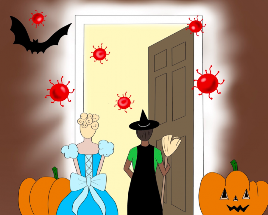 An artist's portrayal of how the coronavirus might become a danger for those who celebrate typical Halloween traditions, such as trick-or-treating.