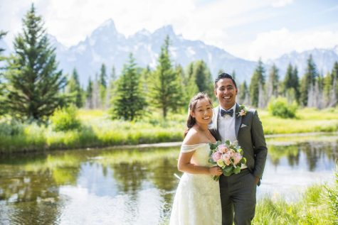Cameron Tong (right) celebrates his wedding day with his bride, Shirley, on July 13 in front of Wyoming's Grand Teton mountain range. Nearly a month later on Aug. 11, Tong starts the 2020-2021 school year at Sunny Hills as a new math instructor, teaching Algebra 2 and Probability and Statistics.